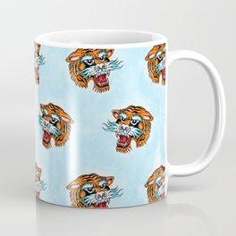 Fierce Tiger Pattern Light Blue Coffee Mug