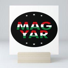 Magyar, circle, black, with stars Mini Art Print