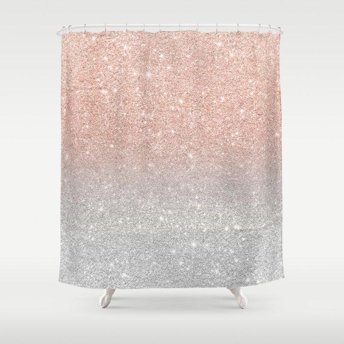 Modern Trendy Rose Gold Glitter Ombre Silver Shower Curtain