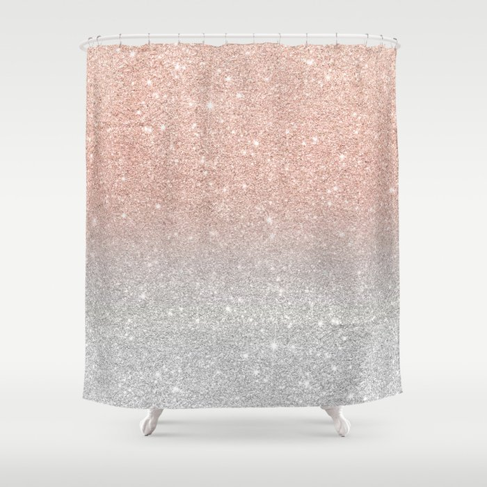 Modern trendy rose gold glitter ombre silver glitter Shower Curtain
