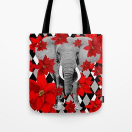 POINSETTIAS ELEPHANTS AND HARLEQUINS OH MY Tote Bag