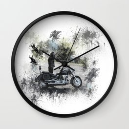 Biker near motorcycle on white Wall Clock