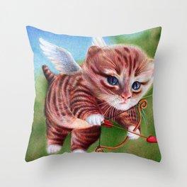 Cupid Kitten - Ballpoint Pen Throw Pillow