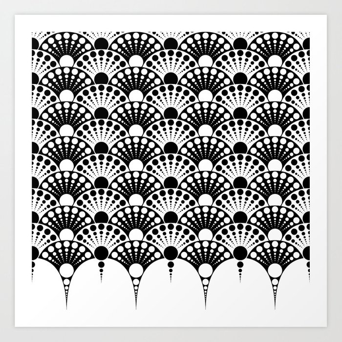 Black And White Art Deco Inspired Fan Pattern Print