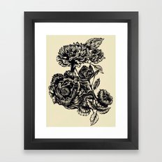 Peonies, black & white Framed Art Print
