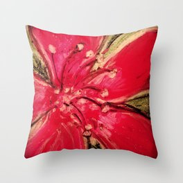 Red Hibiscus Detail Throw Pillow