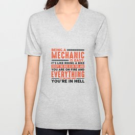 Being a Mechanic Is Easy Shirt Everything On Fire Unisex V-Neck