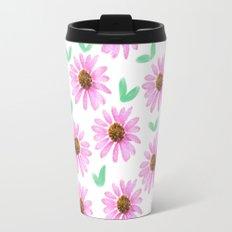 Pink Flower 21 with Leaves Travel Mug