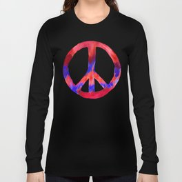 Patriotic Peace Sign Tie Dye Watercolor on Blue Long Sleeve T-shirt