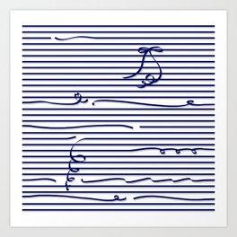 Dark blue stripes (Ribbon) Art Print