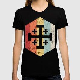 Retro Templar Cross Of Jerusalem Icon T-shirt