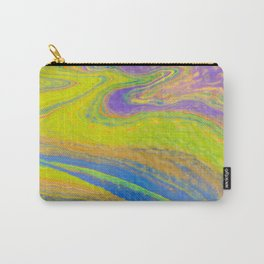 Fluid Art Acrylic Painting, Pour 33, Yellow, Blue, Purple & Green Blended Color Carry-All Pouch
