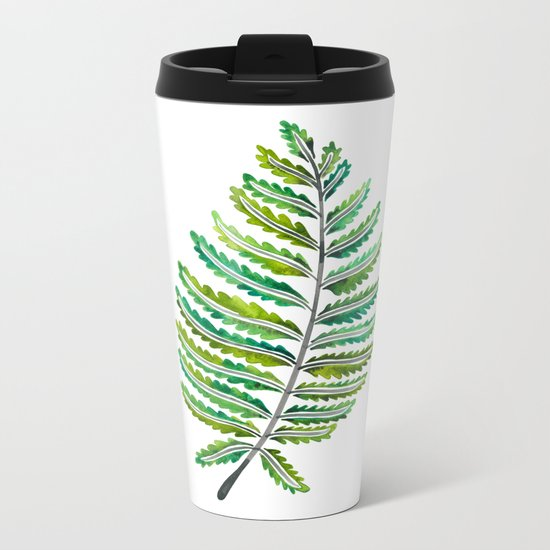 Fern Leaf – Green Palette Metal Travel Mug