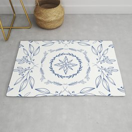 Farmhouse Floral Blue and White Rug