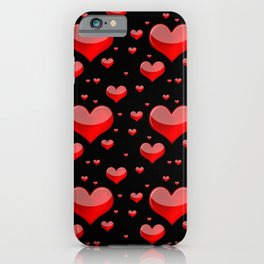 Hearts Red and Black iPhone Case