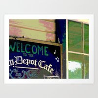 cafe Art Prints featuring Cafe by Glenn Designs