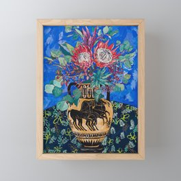 Painterly Bouquet of Proteas in Greek Horse Urn on Blue Framed Mini Art Print