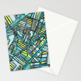Abstract Map- Davis Square, Somerville MA Stationery Cards