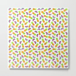 Colorful hand drawn fruit pattern Metal Print