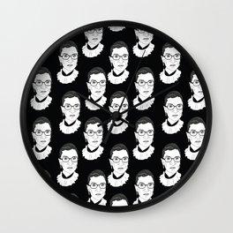 Ruth Bader Ginsburg, Large BW Pattern Wall Clock