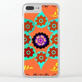 Talavera Tile Orange Clear iPhone Case