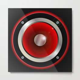 Red Speaker Cone Metal Print