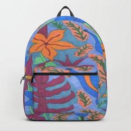 Lush Blue Bohemian Floral Garden Backpack