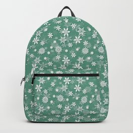 Christmas Green Holly and Ivy Snow Flakes Backpack