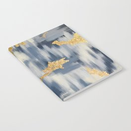 Blue and Gold Ikat Pattern Abstract Notebook