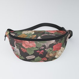 Opossum Floral Pattern (with text) Fanny Pack