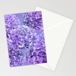 Painterly purple blue hydrangea flowers Stationery Cards