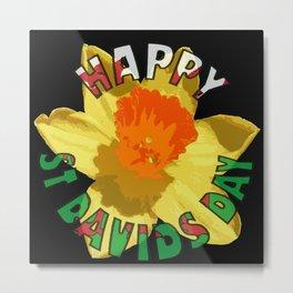 Happy St Davids Day Showy Spring Daffodil Metal Print