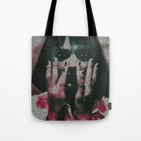 mia wallace Tote Bags featuring Mia by Robotic Ewe