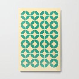 Mid Century Green Floral Metal Print