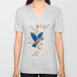 Blue Songbird in spring flowers Unisex V-Neck
