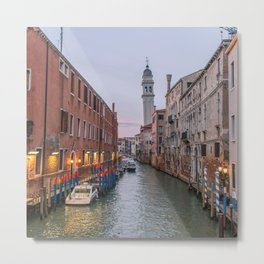 Venice Italy Canal Photography, Travel Italy Wall Art, Venetian Canals at Dusk Home Decor Metal Print