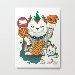 Tattooed Lucky Cat Metal Print