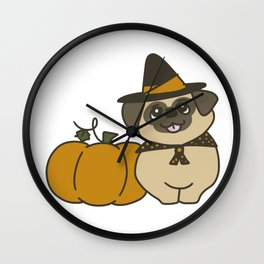 Pug-kin Patch Witch Wall Clock