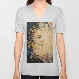 Looking to the Future -beautiful woman Unisex V-Neck