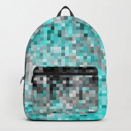 Aqua Gray Pixels Backpack