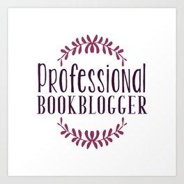 Professional Bookblogger - White w Purple Art Print