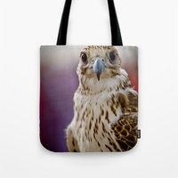 falcon Tote Bags featuring Falcon  by Bader Al Awadhi