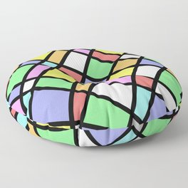 Crazy Pastel Paving - Abstract, pastel coloured mosaic paved pattern Floor Pillow