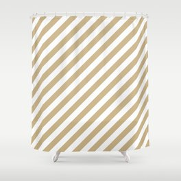 Christmas Gold and Snow White Candy cane Stripes Shower Curtain