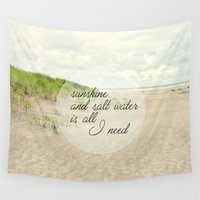 salt water Wall Tapestries featuring sunshine and salt water by Sylvia Cook Photography