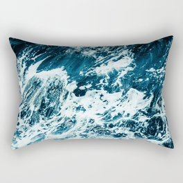 Disobedience - ocean waves painting texture Rectangular Pillow