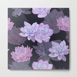 Succulents and lotuses Metal Print