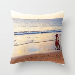 Relaxing Time on the Beach Sunday Afternoon Throw Pillow