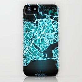 Istanbul, Turkey, Blue, White, Neon, Glow, City, Map iPhone Case