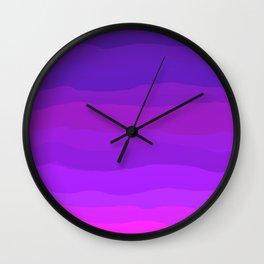 Purple Pink Waves Wall Clock